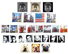 Printed Digital Luxury Cushion Covers London Dogs New York Pop Idols Buddha