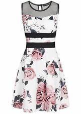 50% OFF B18047414 Damen Violet Kleid kurz Blumen Print MeshDetail Brutspads weiß