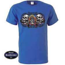 T shirt Royal azul góticos tatuaje mexicano & rockebillymotiv modelo Skull Heart Guns