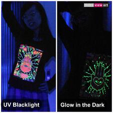 HAMSA HAND Womens Hoodie Psychedelic UV Black Light Glow-in-the-dark Fluorescent