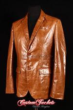 Men's MILANO Tan Glazed Lambskin Italian 2 Button Fitted Leather Jacket Blazer