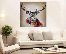 MASSIVE Graffiti Street Art stag deer moose rainbow Print Large Canvas Painting