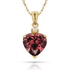 3.07Ct White Sapphire & Heart Alexandrite Charm Pendant14K Yellow Gold w/Chain