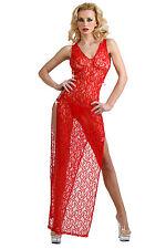 Nuisette longue en dentelle rouge fendue sexy glamour pin-up rétro burlesque