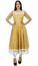 Bimba Designer Indian Clothing Embroidered Anarkali Kurti Dress Beige Net Custom