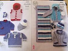 King Cole modelli 4888, 4889. Baby Boys-neonato a 4 anni doppio lavoro a maglia.