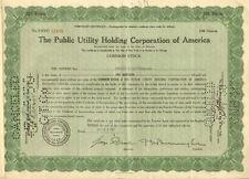 Public Utility Holding Corporation stock certificate