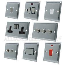 Full Range Slimline Satin Chrome Switch Socket Outlet Dimmer Electrical Black