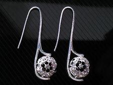 Shamballa Jewellery Crystal with Black Flowers Disco Ball Drop Earrings CC127