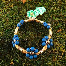HOTI Hemp Handmade Natural Blue Flower Wood Beaded Floral Anklet Ankle Bracelet