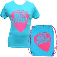 OFFICIAL Ibiza Rocks: Turquoise Plectrum Mens T-shirt w Drawstring Bag RRP £60
