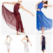 Women Ladies Mock Neck Ballet Leotard Dress Bodysuit Gymnastics Dancewear Skirts