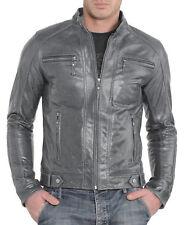 Men's Genuine Lambskin Leather Jacket Biker Motorcycle Bomber Slim fit Men Coat