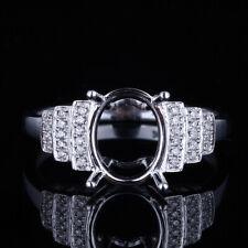 10K Gold Diamonds Wedding Women's Ring Semi Mount 9x7mm Oval Real Diamonds 6.5#