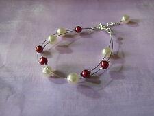 Bracelet couleur  Ivoire/Bordeaux  pr robe de Mariée/Mariage/Soirée perles verre