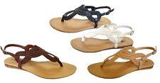 New Womens' Braided Roman Gladiator Flat Sandal T-Strap Thong Sandals--(8016)