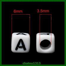 lot perle lettre alphabet cube noir et blanc mélangé ou au choix A à Z 6mm