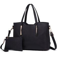 Women Fashion PU Leather 2pcs Handbag Tote Medium Shoulder Bag Satchel