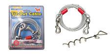 Metal Acero Espiral Estaca Poste Atar Collar Cable Correa Cadena Perro Mascota