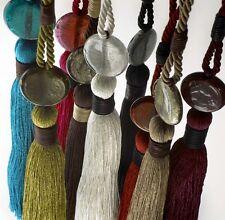 Par de Milán Diseño Vestido Con Cuentas Borla Cortina/Voile Tiebacks Holdbacks 9 Colores