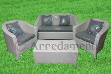 salotto da esterno giardino poly rattan alluminio divano poltrone tavolino grigi