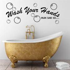 Bathroom Wall quote Wash Hands Wall Sticker Decal Transfer Mural Stencil Art