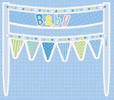 Azul Lunares Baby Shower lunares Banderas Bebé Pastel Pancarta Decoración 1-5pk