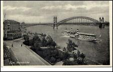 BONN ~1930/40 Rhein Schiff Dampfer passiert die Rheinbrücken Brücke Bridge Ship