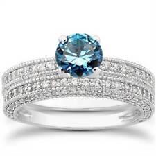 1ct Treated Blue & White Diamond Vintage Engagement Bridal Ring Set 14K Gold