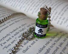 Zombie Virus Glass Bottle Necklace - Walking Dead Potion Goth Vial Charm