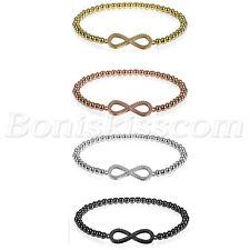 Women's Girls Charm Love Infinity Friendship Cubic Zirconia Bead Bracelet Chain