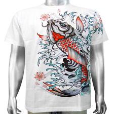 Japanese Yakuza Mob Gangster Tattoo Koi Carp Pond Lake Fish Mens T-shirt M & L