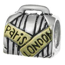 Sterling Silver Paris London Trip Suitcase Bag Bead For European Charm Bracelets