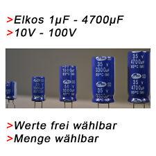 ELKO Kondensatoren 1 µF bis 4700µF uF + 10V bis 100V Elkos Sortiment 1000 470