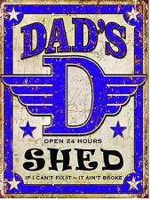 METAL VINTAGE SHABBY-CHIC DADS SHED TIN PLAQUE / FRIDGE MAGNET
