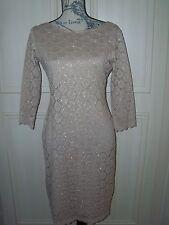 NEW QVC Ronni Nicole Beige Glitter Dress UK 8 10 12 or 14