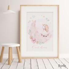 Girl Nursery or Bedroom Watercolour Unicorn Wall Art prints. Rainbow floral Art