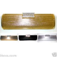 Pochette CERIMONIA Clutch Baguette GIOIELLO ORO borsa stola nero argento D0263