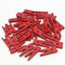 LOT 10/20/40/60/80 MINI PINCE A LINGE EN BOIS 25 mm rouge bois SCRAPBOOKING deco