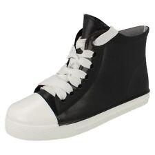 LADIES BLACK ANKLE FESTIVAL WELLIES PVC SPLASH BOOTS COMFY CASUAL SHOES UK 3-8