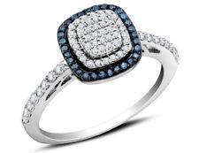 White & Blue Diamond Ring 2/5 Ctw in 10K White Gold