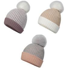 Mesdames 2 Tone Côtelé Tricot Bonnet avec Fourrure synthetique Pompon Bottes Chaud Cap