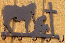 Cowboy and cross silhouette Key Holder Home Decor