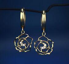14k Yellow / White Gold Dangle CZ Flower Huggie Earrings