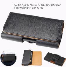 LG Q7 G6 G5 G4 V20 Nexus 5 Spirit K10 Leather Pouch Belt Clip Case Cover for LG