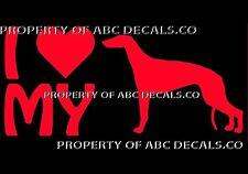 VRS LOVE My Dog GREYHOUND Race Heart Adoption Shelter Rescue CAR VINYL DECAL