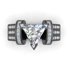 Women Trillion Cut White Sapphire 14kt Black Gold Filled Fashion Ring Size 6-10