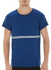 BURTON Boys Mens Blue Textured Roll Sleeve White Stripe T-Shirt - XS S M BNWT