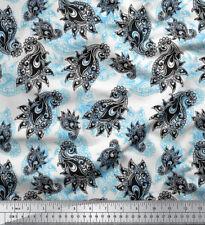 Soimoi Fabric Black Sketch Paisley Fabric Prints By Meter-PSL-510B