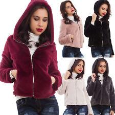 Pelliccia donna ecologica cappuccio zip cerniera eco giubbotto giacca AS-7657-1